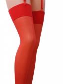 Классические красные чулочки под пояс на широкой резинке Passion (17 den, 1/2 размер)