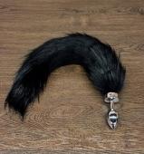 Небольшая анальная втулка с черным хвостом на магните Notabu BDSM