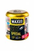 Точечно-ребристые презервативы MAXUS в фирменном круглом кейсе (15 шт)