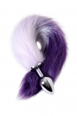 Малая анальная втулка с бело-фиолетовым хвостом Metal by TOYFA