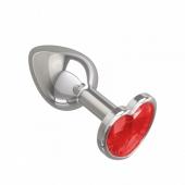 Небольшая анальная втулка с красным кристаллом в виде сердца Джага