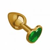 Небольшая золотая анальная втулка с зеленым кристаллом в виде сердца Джага