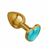 Небольшая золотая анальная втулка с голубым кристаллом в виде сердца Джага