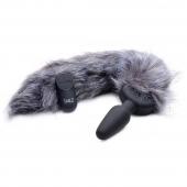 Мощная анальная вибро-пробка TAILZ с серым лисьим хвостом Grey Fox Tail Anal Plug (7 реж, 3 скорости)