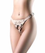 Кожаные страпон-трусики Kira Flesh с кольцом