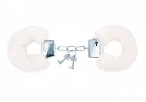 Белые меховые наручники Notabu BDSM