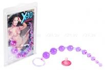 Анальная цепочка из шариков X-10 Beads фиолетовый