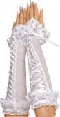 Перчатки белые на шнуровке с рюшами