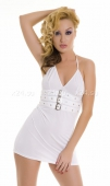 Платье белое с декоративными пряжками SM