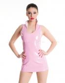 Платье розовое виниловое со шнуровкой сзади M