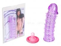 Стимулирующая силиконовая насадка с усиками прозрачный фиолетовый