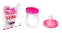 Стимулирующее кольцо тонкое Vibrating Ring прозрачный с розовым