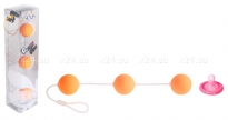 Трехрядные анальные шарики оранжевые Funny Five