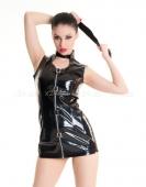 Платье чернное виниловое с молнией L