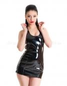 Платье черное виниловое со шнуровкой сзади M