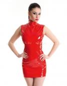 Платье красное виниловое с молнией сзади M