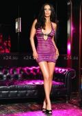 Мини-платье в сеточку с кожаным ремешком под грудью