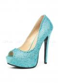 Шикарные голубые туфли со стразами Glamour 39