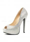 Шикарные серебряные туфли со стразами Glamour 39