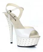 Туфли белые с кристаллами на платформе и каблуке 38