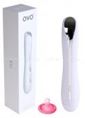 Водонепроницаемый силиконовый вибратор OVO (5 режимов) белый с серебряным