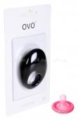 Черное эрекционное кольцо на пенис OVO с вибрацией