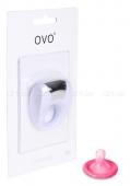 Эрекционное белое кольцо на пенис OVO с вибрацией белый, хром