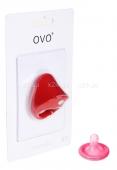 Широкое эрекционное кольцо на пенис OVO с вибрацией красный