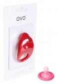 Эрекционное вибрирующее кольцо на пенис OVO красный