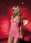 Розовое мини-платье с рюшами
