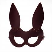 Кожаная женская маска зайки коричневая Matryoshka_Leather