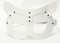 Кожаная женская маска кошечки белый Matryoshka_Leather
