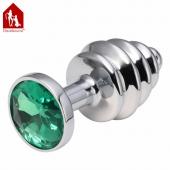 Анальная металлическая серебряная пробка винтовая с зеленым кристаллом